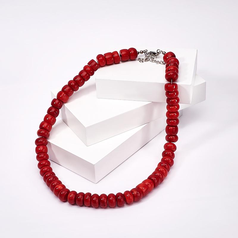 Бусы коралл красный 13 мм 50-58 см (хир. сталь) бусы коралл красный белый 55 64 см