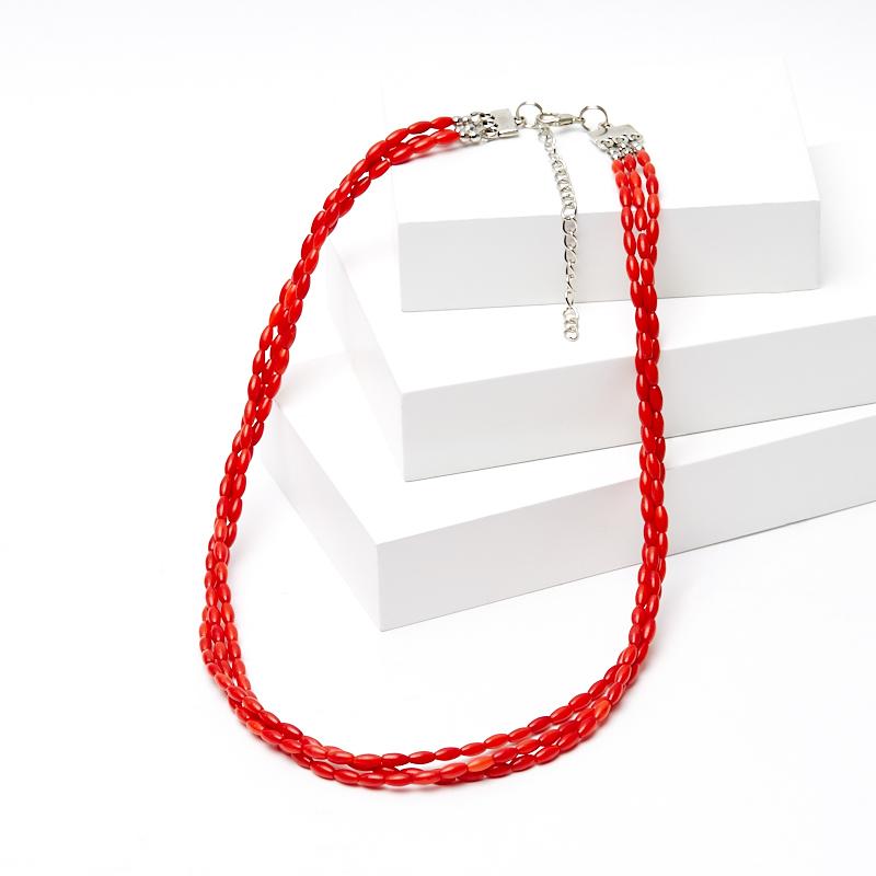 Бусы коралл красный 50-57 см (биж. сплав)
