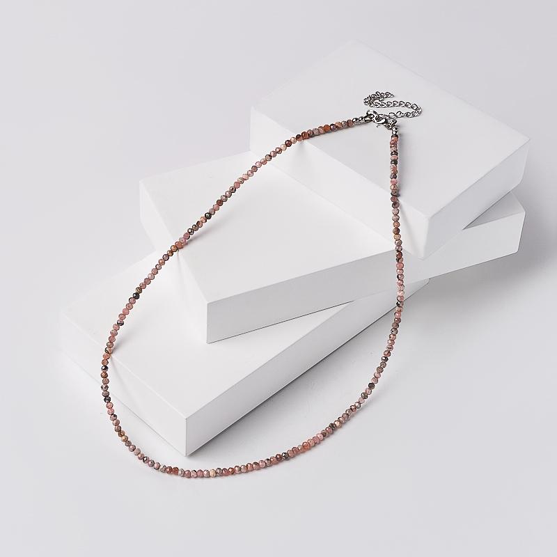 Бусы родохрозит огранка 3 мм 46-51 см (хир. сталь) браслет гранат альмандин огранка 3 мм 16 19 см хир сталь