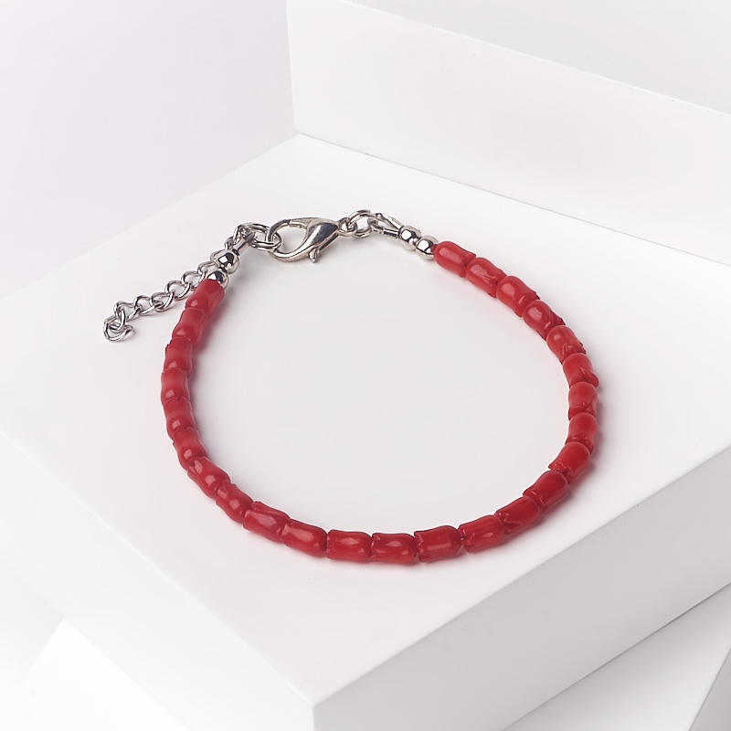 Браслет коралл красный 16-19 см (биж. сплав) браслет жемчуг белый 6 7 мм 16 см биж сплав