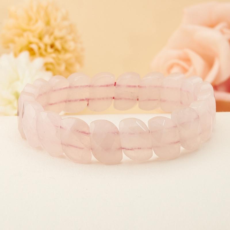 Браслет розовый кварц огранка 17 см