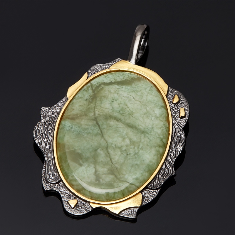 Кулон жадеит овал (серебро 925 пр., позолота)