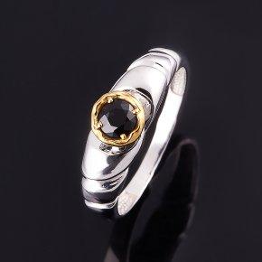 Кольцо сапфир черный Индия огранка (серебро 925 пр., позолота) размер 17