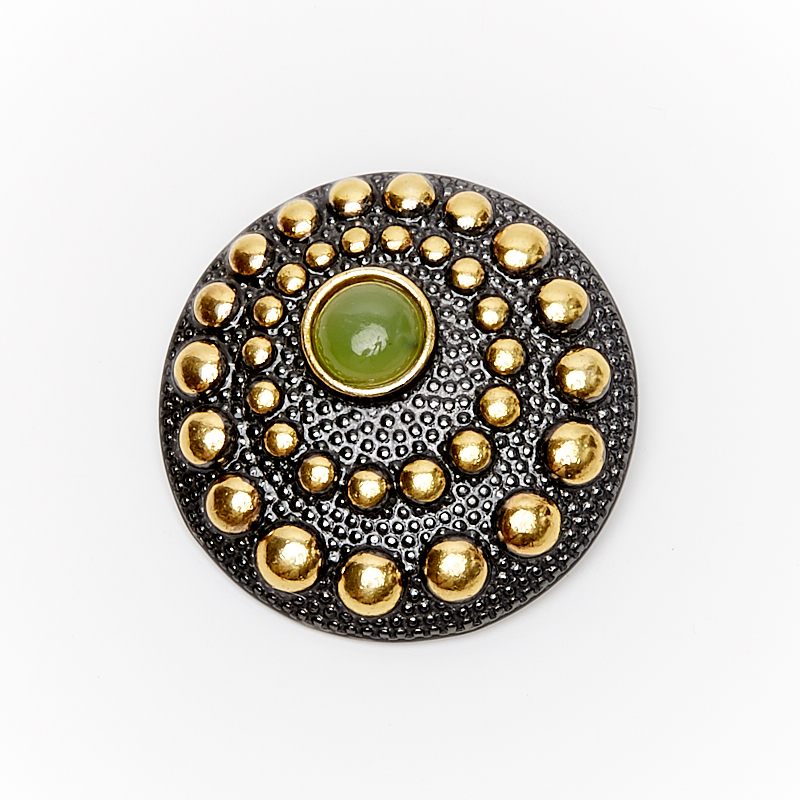 Кулон нефрит зеленый круг (серебро 925 пр., позолота)