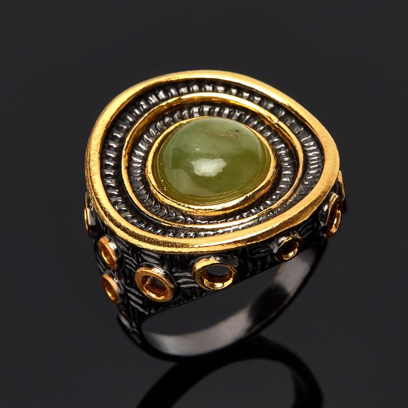 Кольцо нефрит зеленый Россия (серебро 925 пр., позолота) размер 16,5