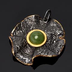 Кулон нефрит зеленый Россия (серебро 925 пр. родир. черн. позолота)