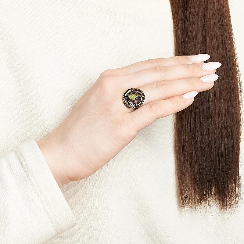 Кольцо нефрит зеленый Россия (серебро 925 пр. родир. черн. позолота) размер 18