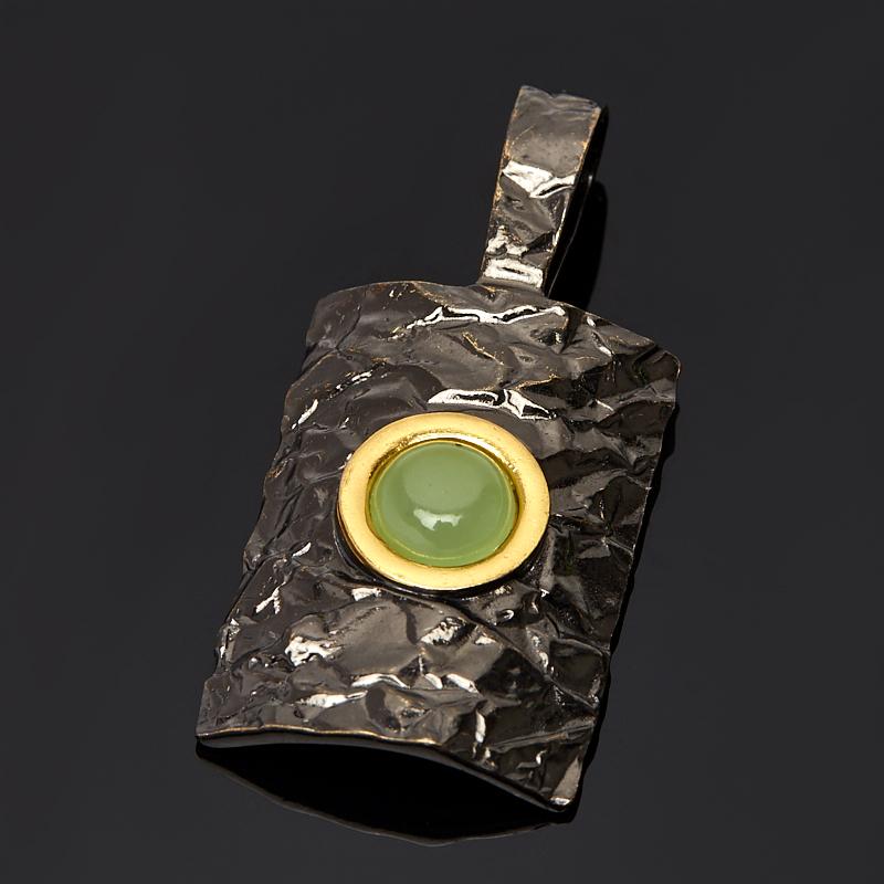 Кулон нефрит зеленый прямоугольник (серебро 925 пр., позолота)