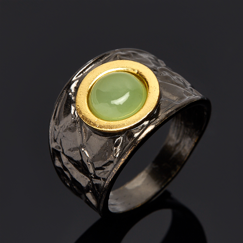 Кольцо нефрит зеленый (серебро 925 пр., позолота) размер 17,5 кольцо нефрит зеленый серебро 925 пр размер регулируемый