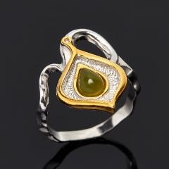 Кольцо нефрит зеленый Россия (серебро 925 пр., позолота) размер 17