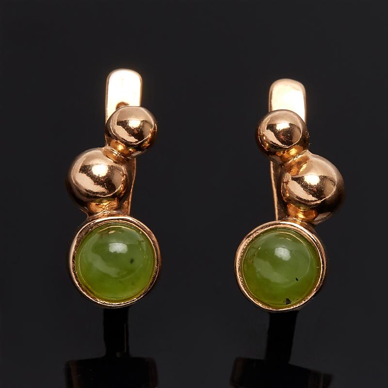 Серьги нефрит зеленый Россия (серебро 925 пр., позолота)