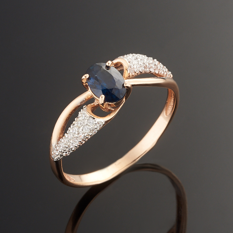 Кольцо сапфир огранка (золото 585 пр.) размер 17,5