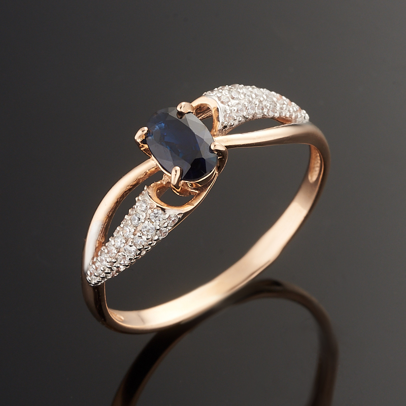Кольцо сапфир огранка (золото 585 пр.) размер 18,5
