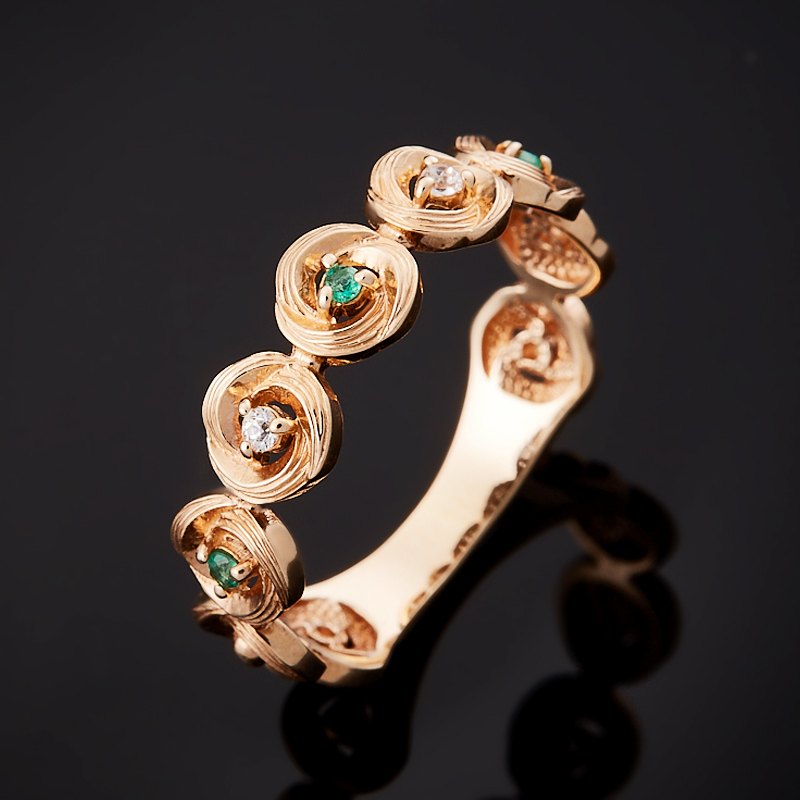 Кольцо изумруд огранка (золото 585 пр.) размер 17