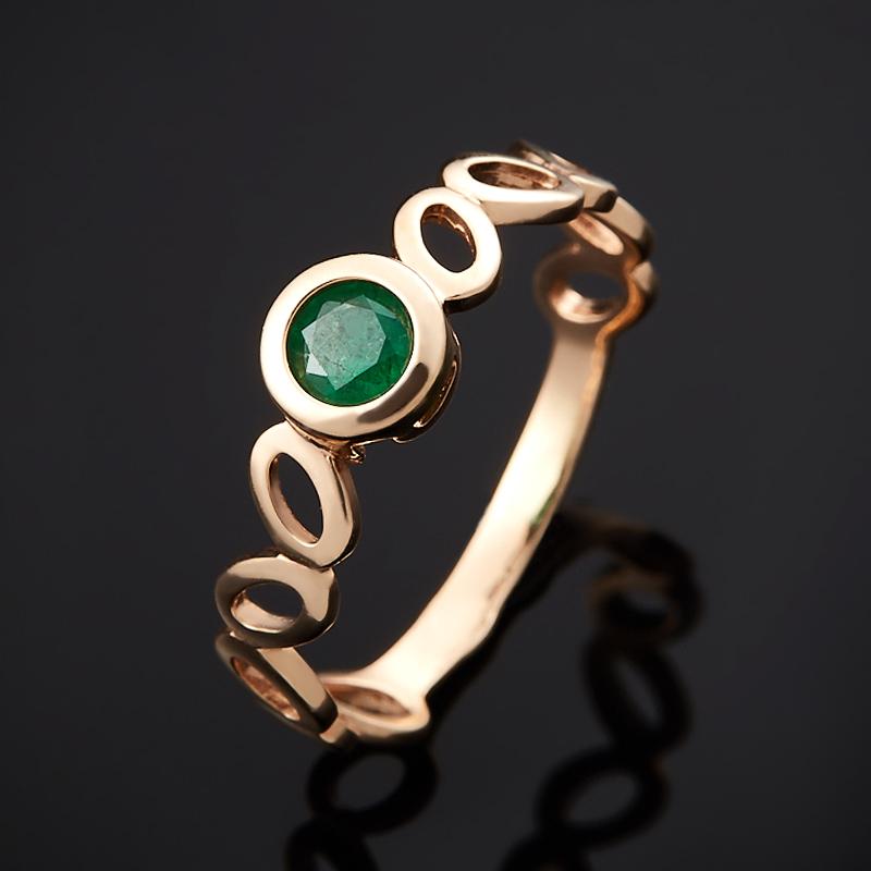 Кольцо изумруд огранка (золото 585 пр.) размер 16