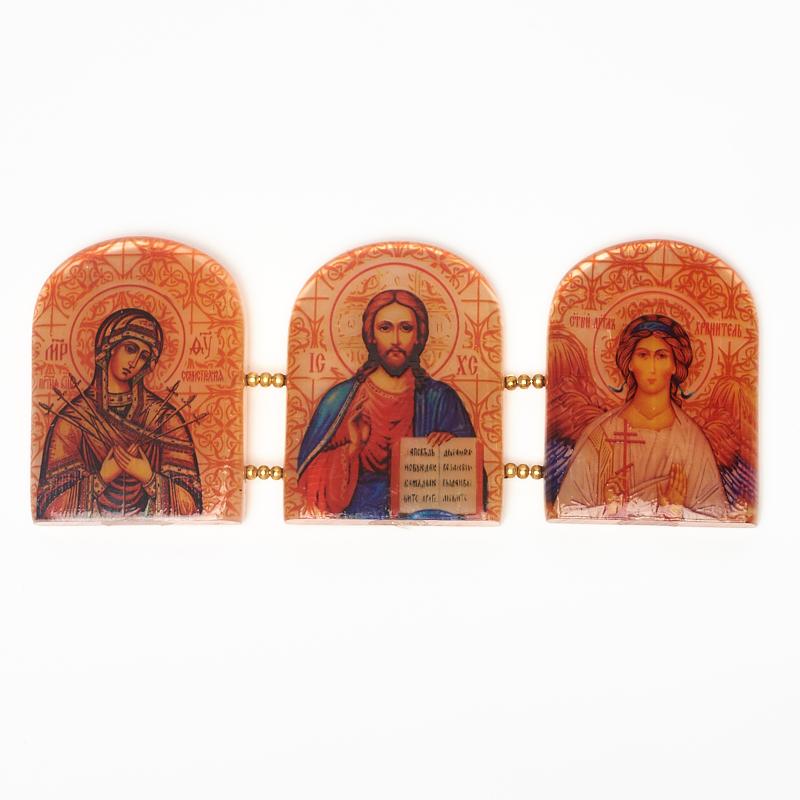 Изображение Триптих селенит Иисус Христос, Ангел-хранитель, Молитва на умягчение злых сердец 14 см панно art east ангел хранитель 28 21 см