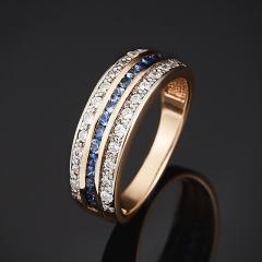 Кольцо сапфир Индия огранка (золото 585 пр.) размер 17,5