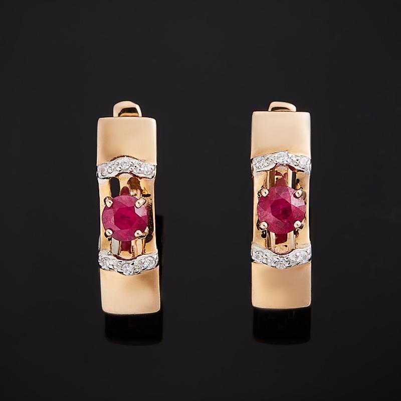 Серьги рубин огранка (золото 585 пр.)