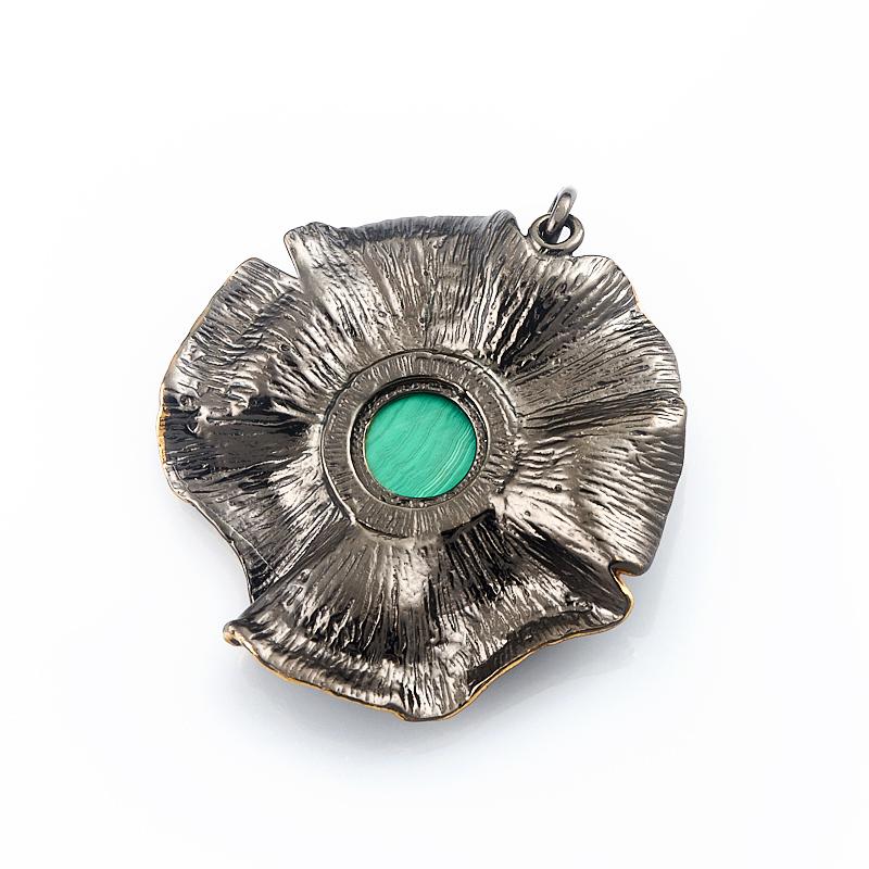 Кулон малахит Конго цветок (серебро 925 пр. родир. черн. позолота)