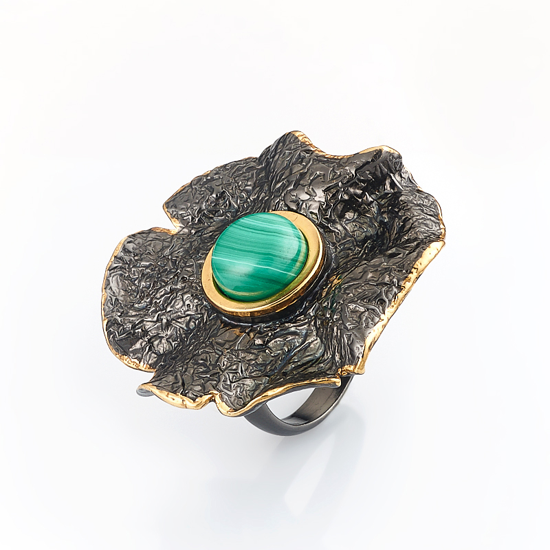 Кольцо малахит (серебро 925 пр., позолота) размер 17,5
