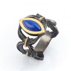 Кольцо лазурит Афганистан (серебро 925 пр., позолота) размер 18,5