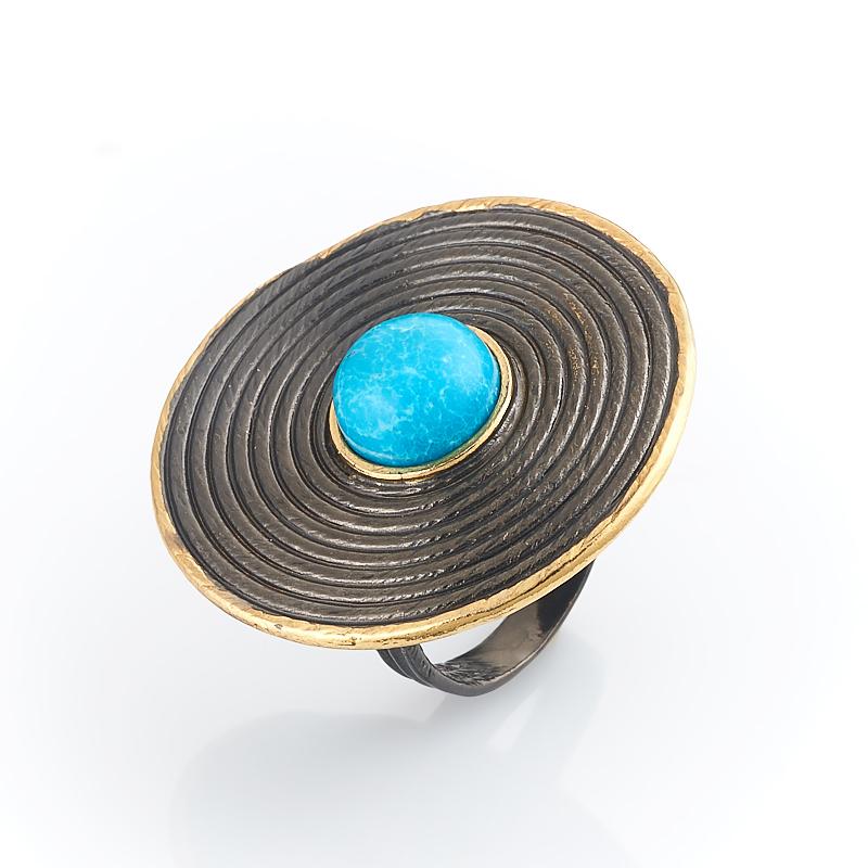 Кольцо бирюза Тибет (серебро 925 пр., позолота) размер 17
