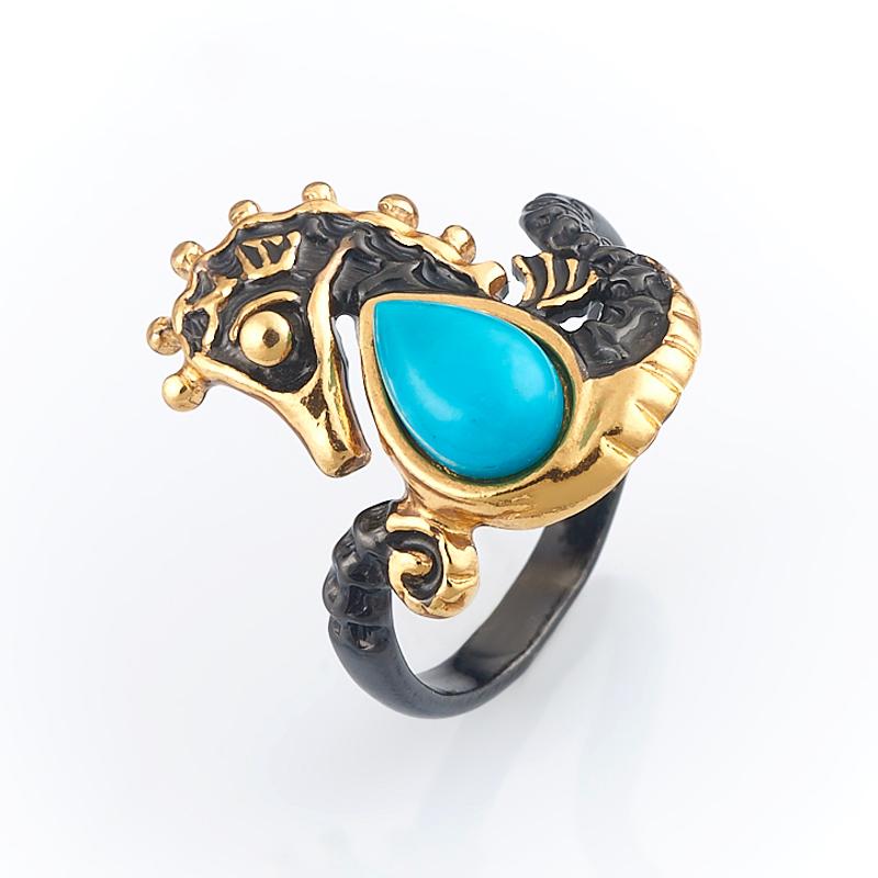 Кольцо бирюза Тибет (серебро 925 пр., позолота) размер 18