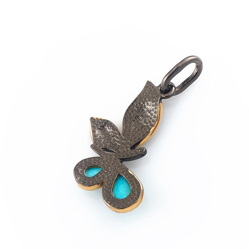 Кулон бирюза Тибет бабочка (серебро 925 пр., позолота)