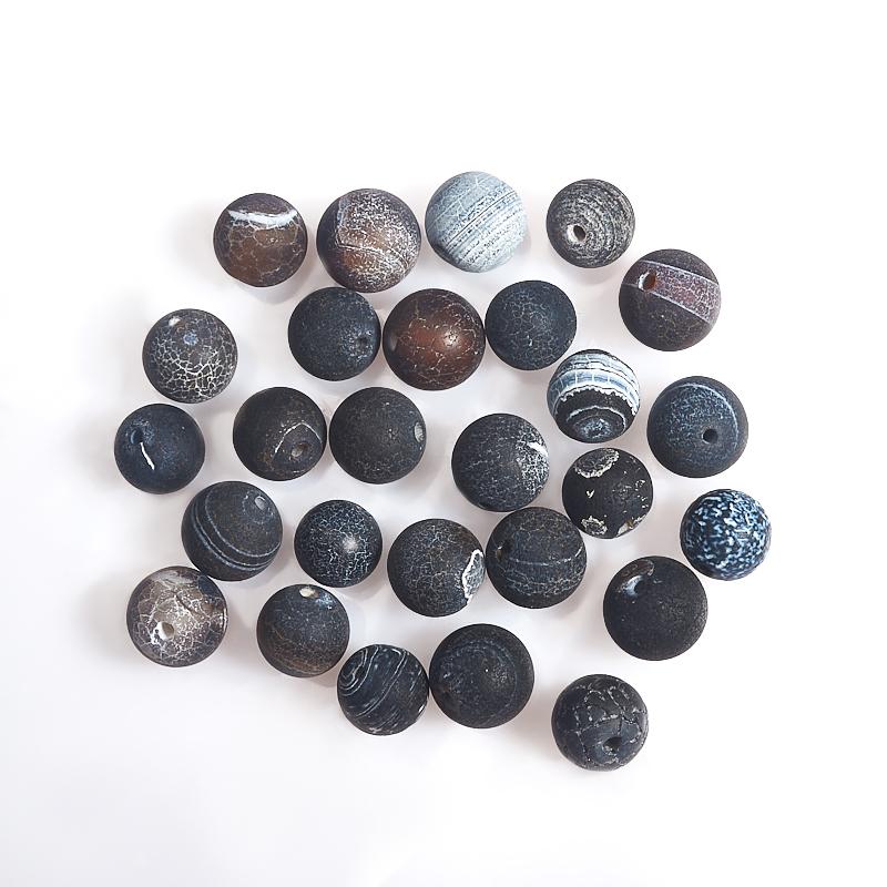 Бусина агат черный матовый шарик 7,5-8 мм (1 шт) матовое натуральный netstone нити круглый шарик 8 мм отверстие 1 мм около 24 шт нитка 7 5