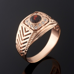 Кольцо гранат альмандин Индия огранка (серебро 925 пр. позолота) размер 21