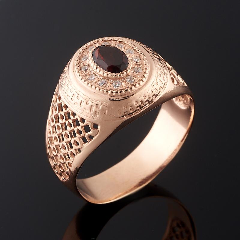 Кольцо гранат альмандин огранка (серебро 925 пр., позолота) размер 19