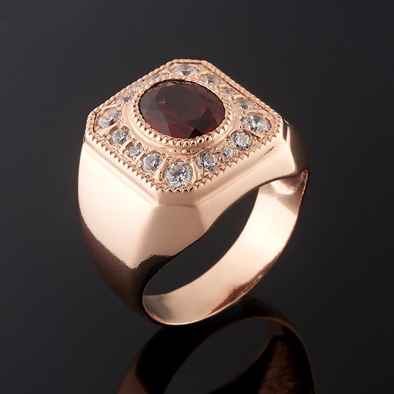 Кольцо гранат альмандин огранка (серебро 925 пр., позолота) размер 18,5