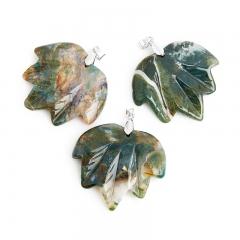 Кулон агат моховой Индия лист (биж. сплав) 5,5 см