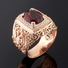 Кольцо гранат альмандин Индия огранка (серебро 925 пр., позолота) размер 20,5