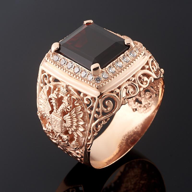 Кольцо гранат альмандин огранка (серебро 925 пр., позолота) размер 22