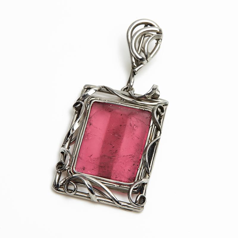 Кулон турмалин розовый (рубеллит)  прямоугольник (нейзильбер)
