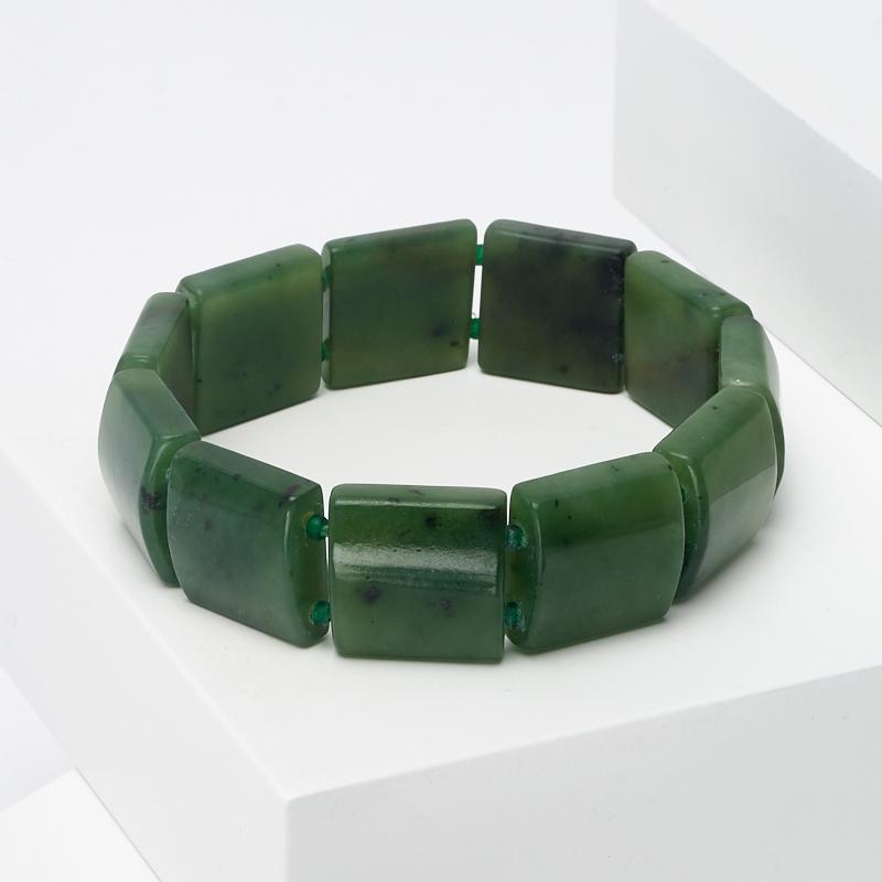 Браслет нефрит зеленый 16 см