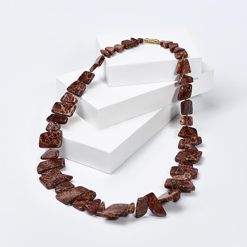 Бусы яшма уральская (колье) 60 см (биж. сплав) бусы яшма уральская 48 см биж сплав