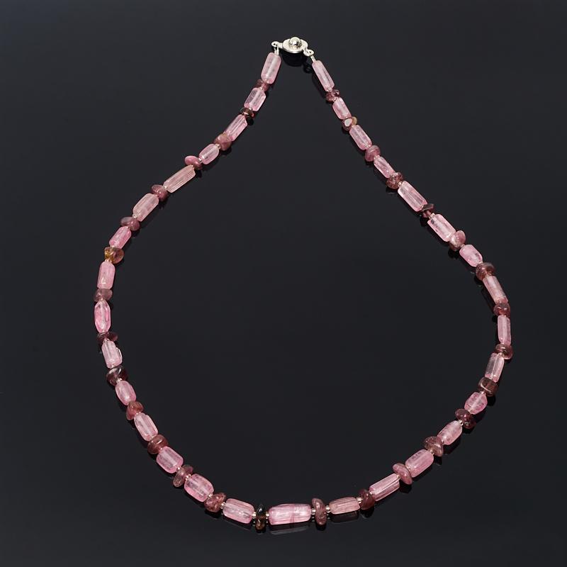 Бусы турмалин розовый (рубеллит) Бразилия 49 см (биж. сплав)