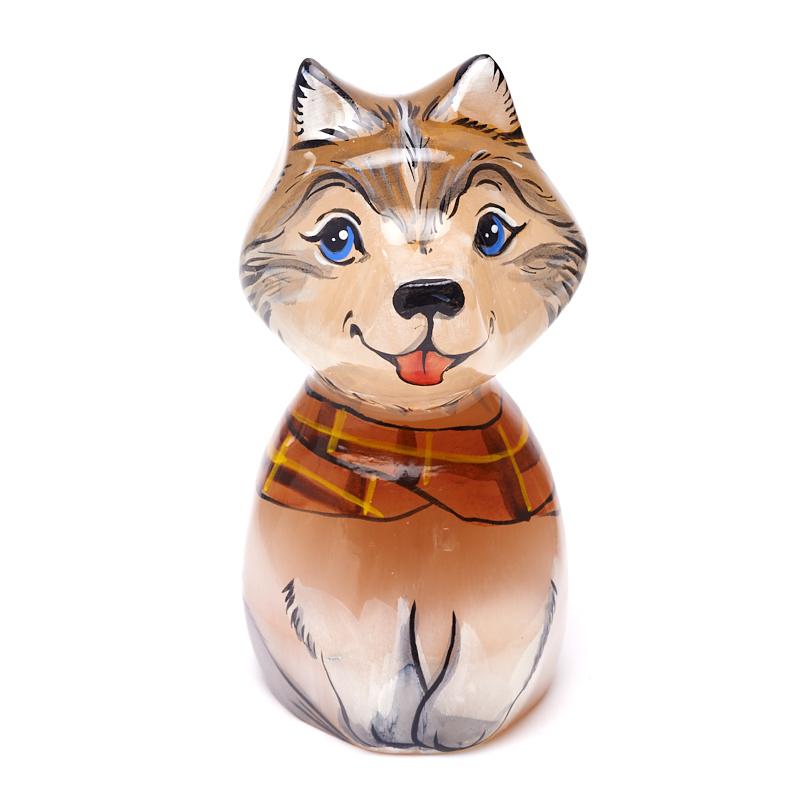 Собака селенит 8,5 см собака бульдог большой селенит 6 см