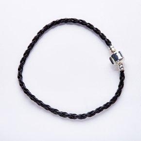 Браслет для больших шармов черный 20 cм (иск. кожа)