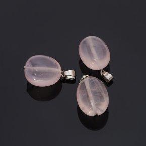 Кулон розовый кварц Бразилия галтовка (биж. сплав)