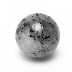 Шар турмалин черный (шерл) в кварце Бразилия 5 см