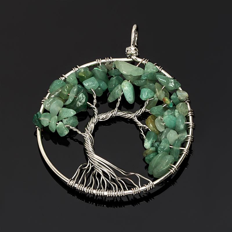 Кулон авантюрин зеленый Зимбабве круг (биж. сплав) 6 см
