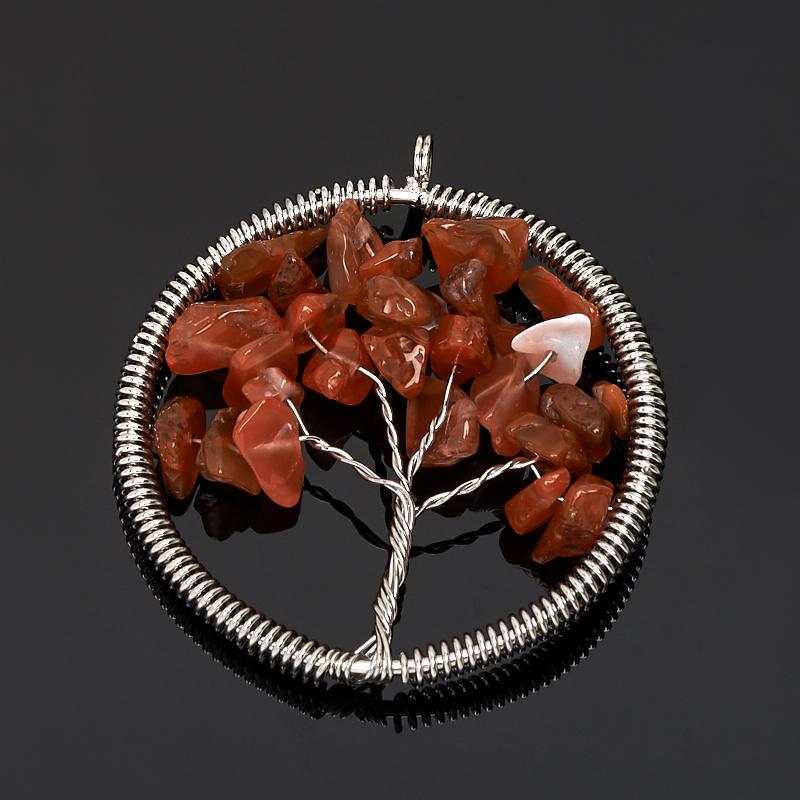Кулон сердолик Ботсвана круг (биж. сплав) 5,5 см