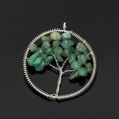 Кулон авантюрин зеленый Зимбабве круг (биж. сплав) 5,5 см