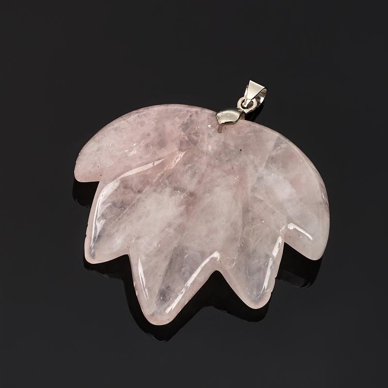 Кулон розовый кварц лист (биж. сплав) 5-5,5 см кулон розовый кварц прямоугольник 5 см
