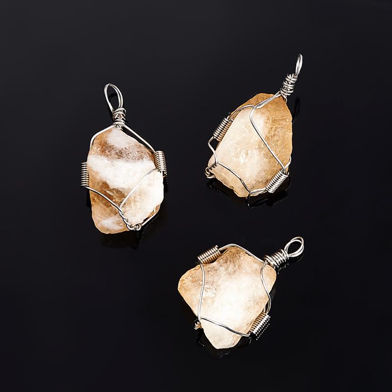 Кулон цитрин кристалл (биж. сплав) 3-4 см