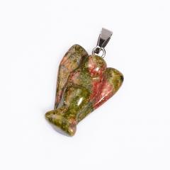 Кулон ангел унакит ЮАР (биж. сплав) 2,5 см