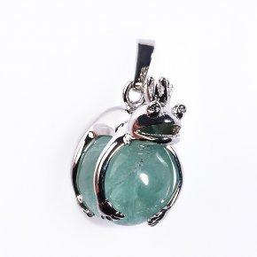 Кулон флюорит зеленый лягушка (биж. сплав) 3 см